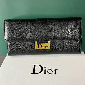 🎩D-i-o-r🎩 Classic Black Leather Wallet